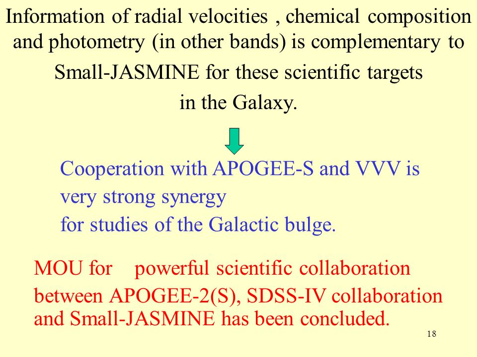 Small-JASMINE for these scientific targets