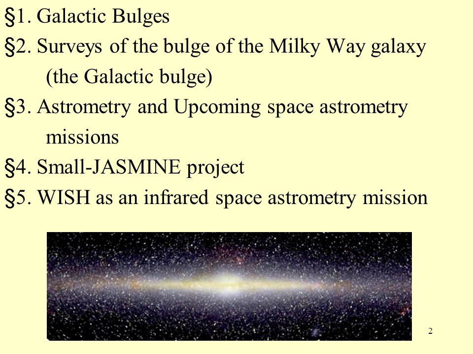 §1. Galactic Bulges §2. Surveys of the bulge of the Milky Way galaxy. (the Galactic bulge) §3. Astrometry and Upcoming space astrometry.
