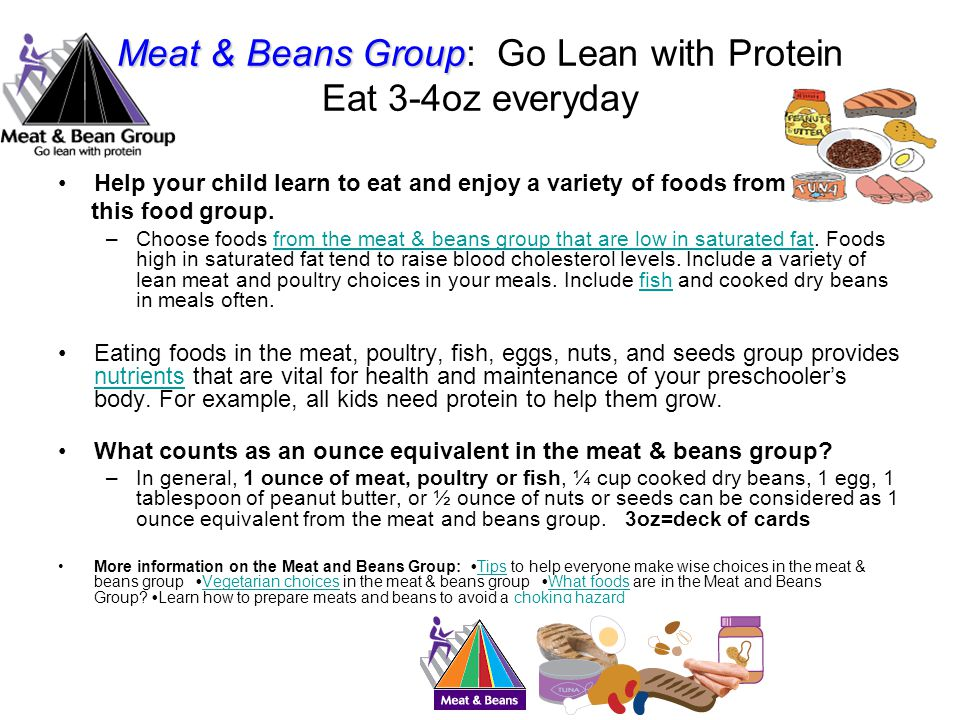 Meat & Beans Group: Go Lean with Protein Eat 3-4oz everyday