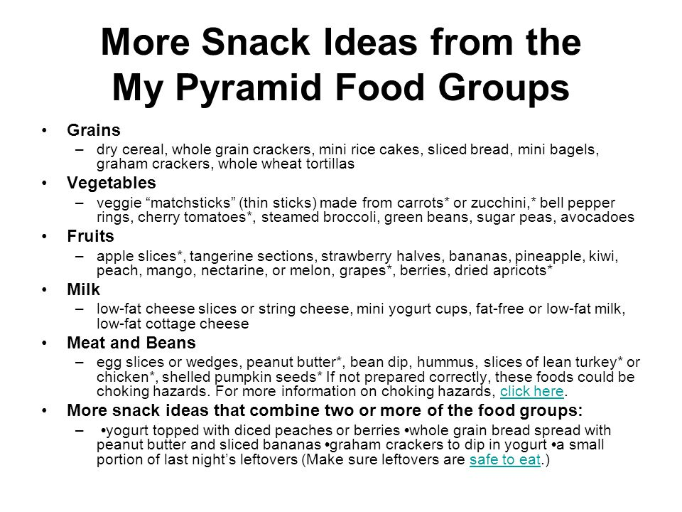 More Snack Ideas from the My Pyramid Food Groups