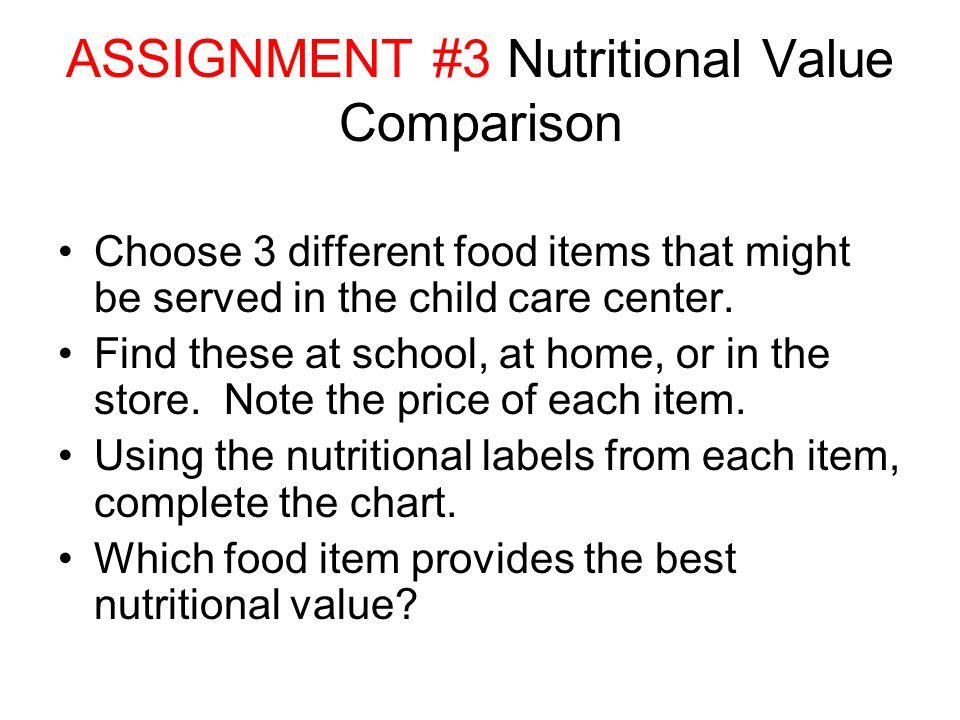 ASSIGNMENT #3 Nutritional Value Comparison