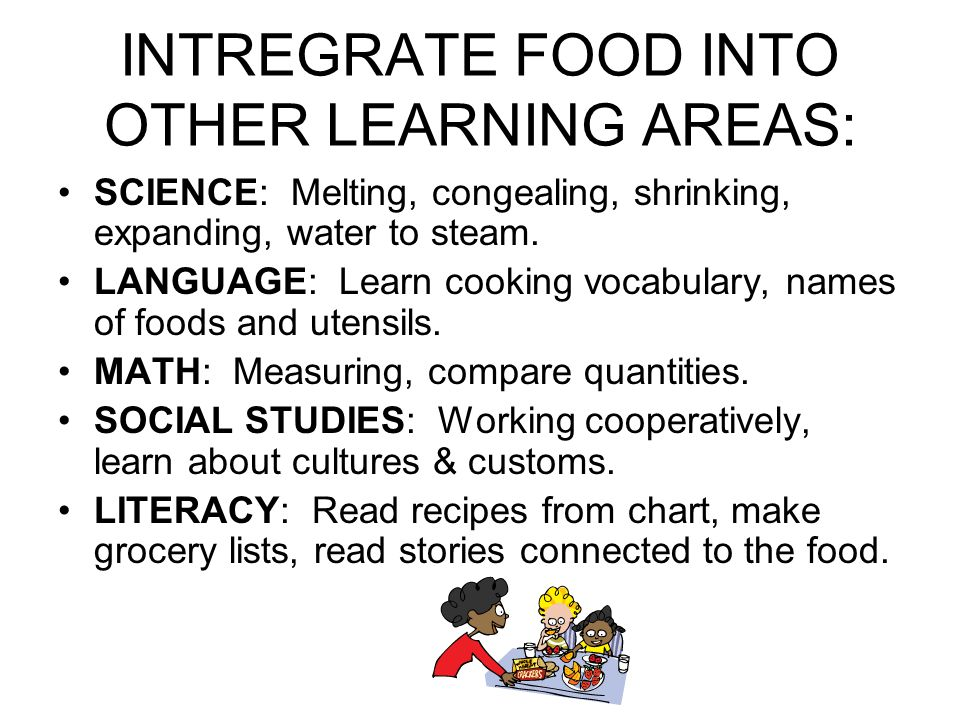 INTREGRATE FOOD INTO OTHER LEARNING AREAS: