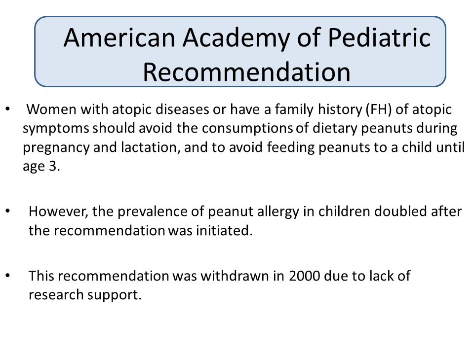 American Academy of Pediatric Recommendation