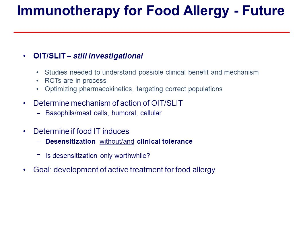 Immunotherapy for Food Allergy - Future