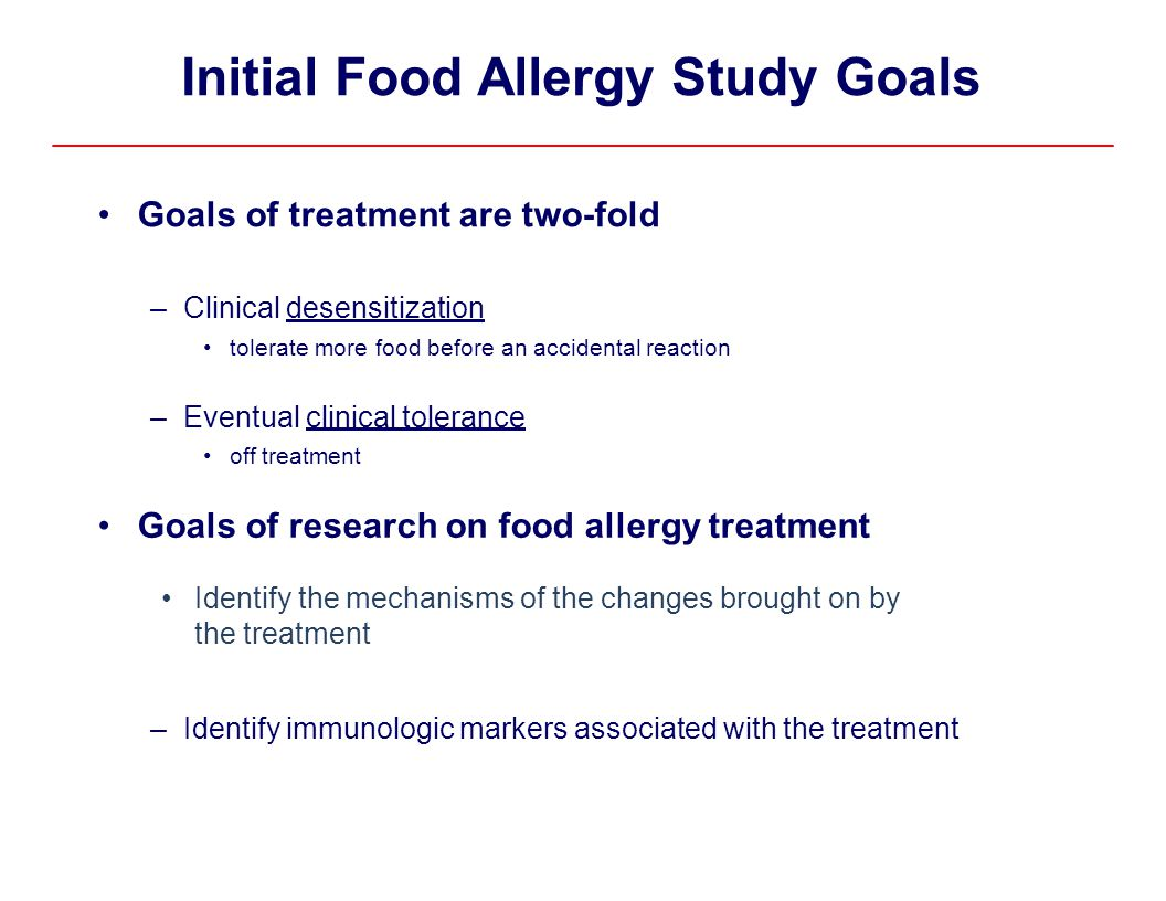 Initial Food Allergy Study Goals