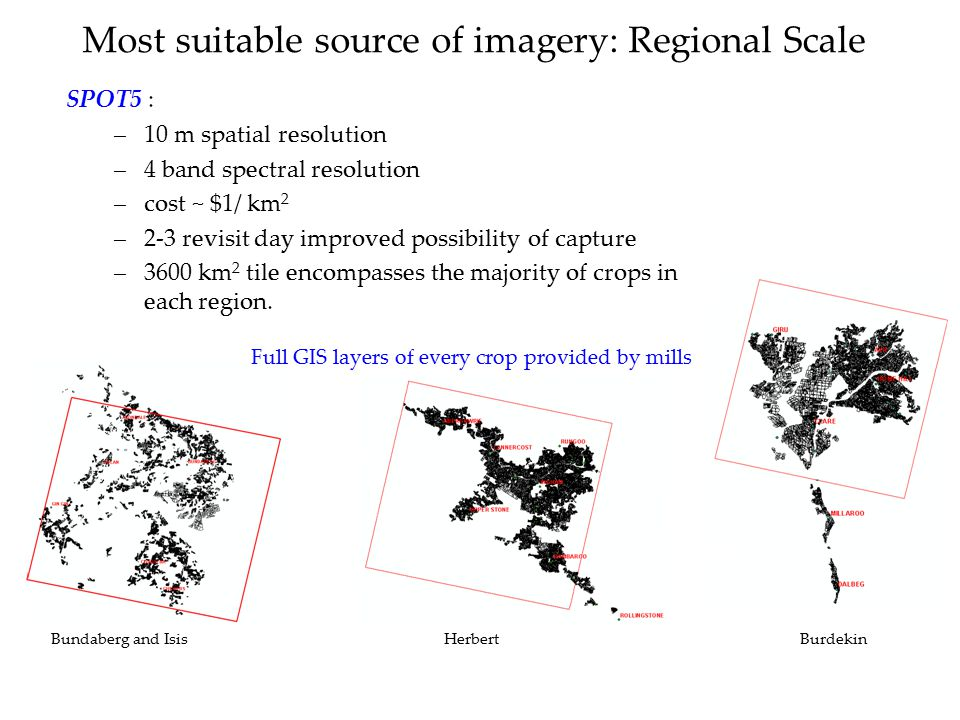 Most suitable source of imagery: Regional Scale