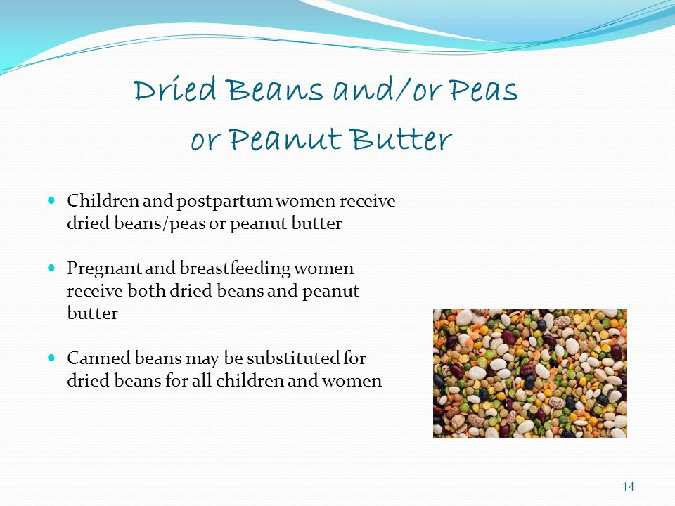 Dried Beans and/or Peas or Peanut Butter