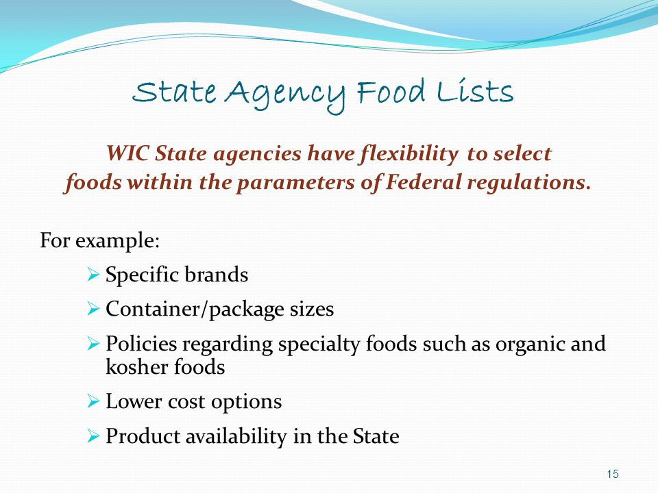 State Agency Food Lists