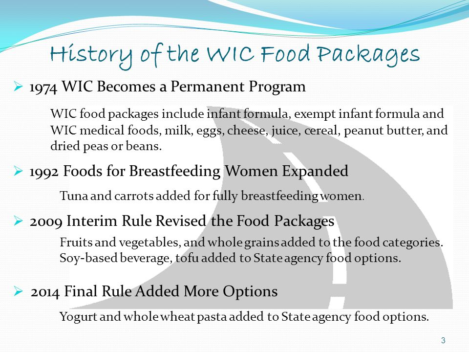 History of the WIC Food Packages