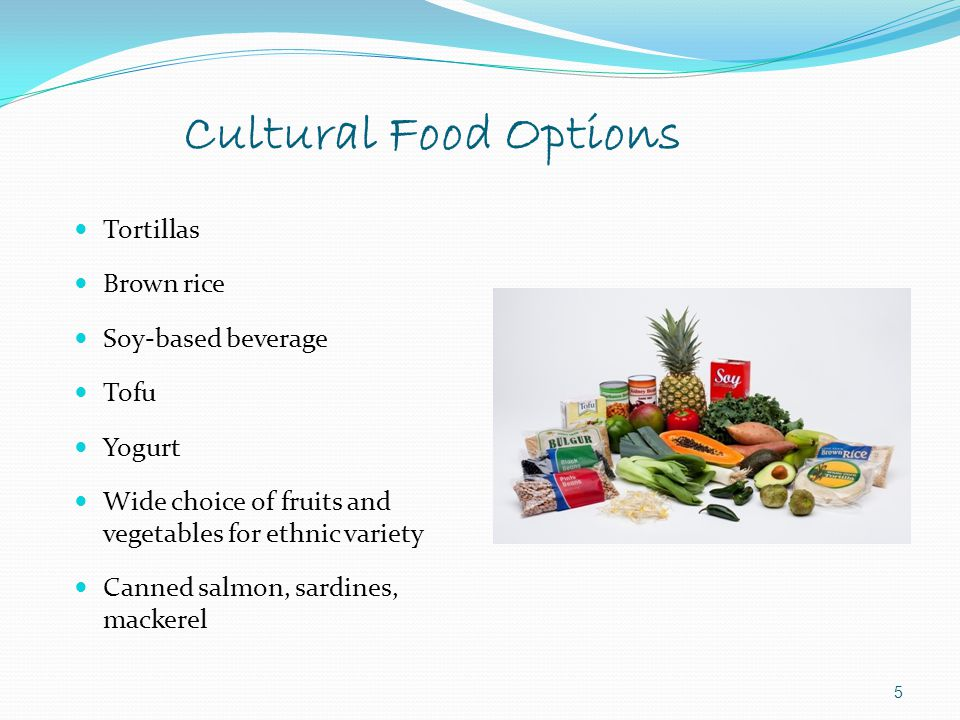 Cultural Food Options Tortillas Brown rice Soy-based beverage Tofu