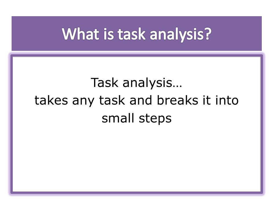 Task analysis… takes any task and breaks it into small steps