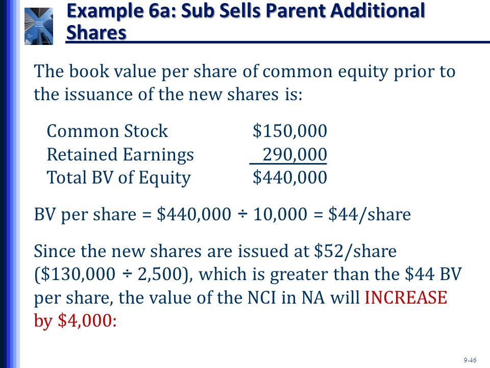 Example 6a: Sub Sells Parent Additional Shares