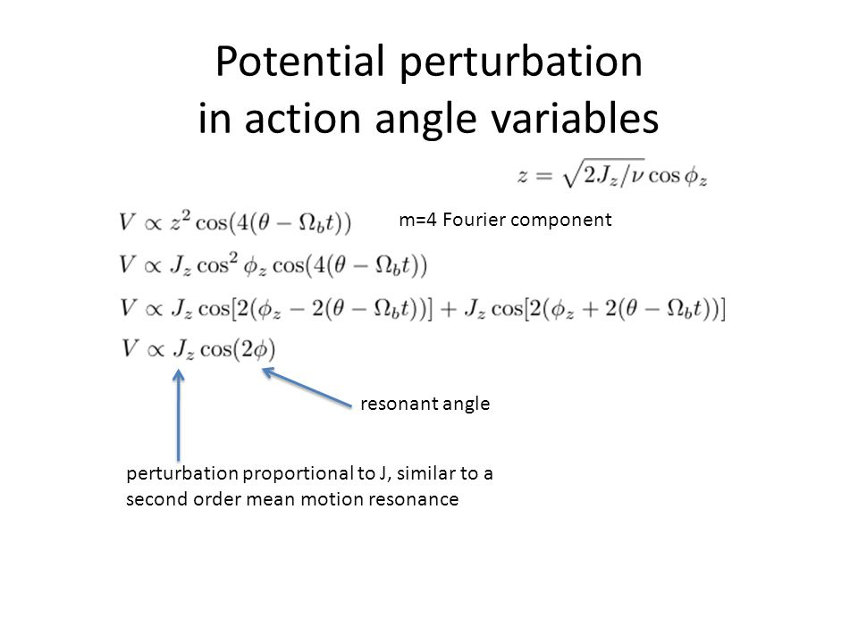 Potential perturbation in action angle variables