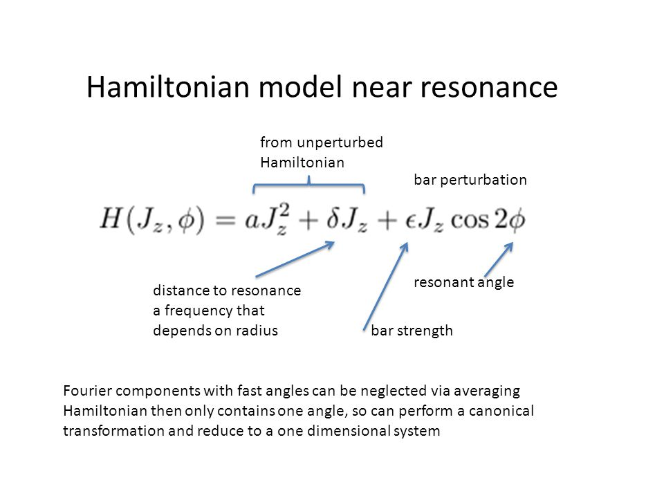 Hamiltonian model near resonance