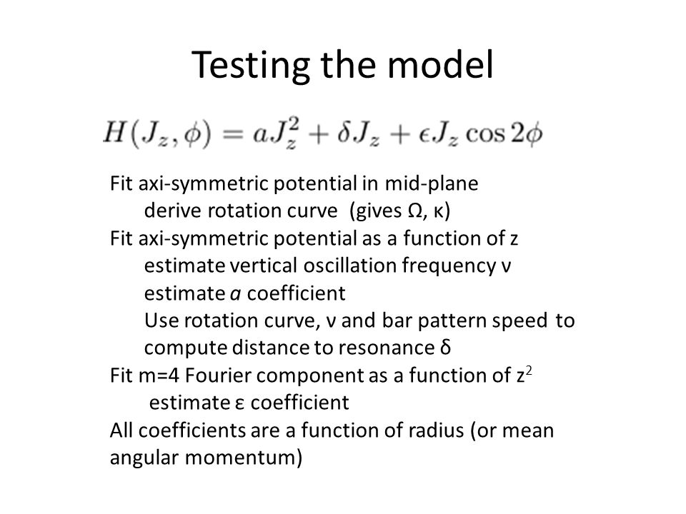 Testing the model Fit axi-symmetric potential in mid-plane