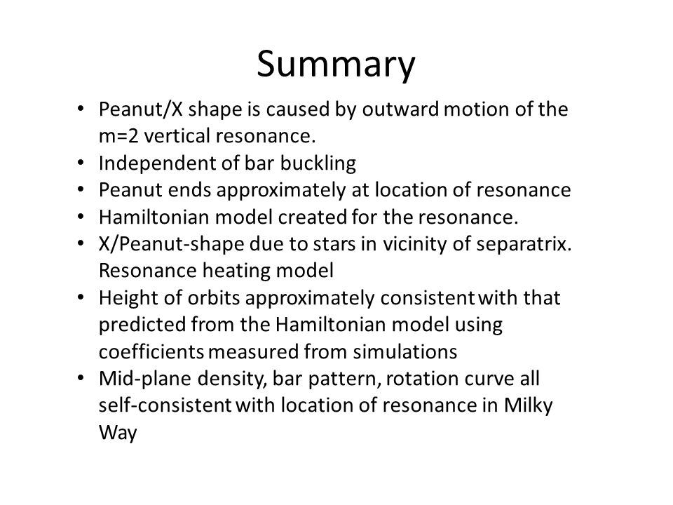Summary Peanut/X shape is caused by outward motion of the m=2 vertical resonance. Independent of bar buckling.