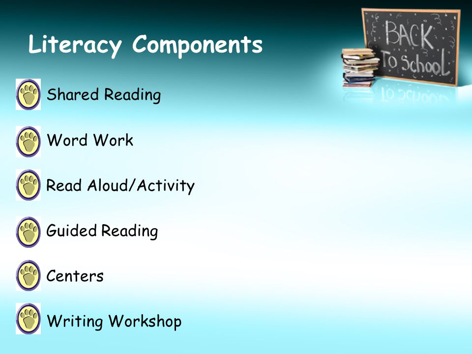 Literacy Components Shared Reading Word Work Read Aloud/Activity