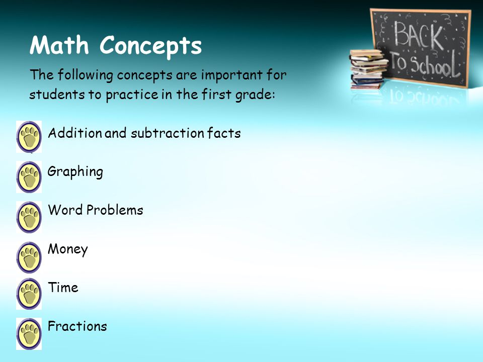 Math Concepts The following concepts are important for