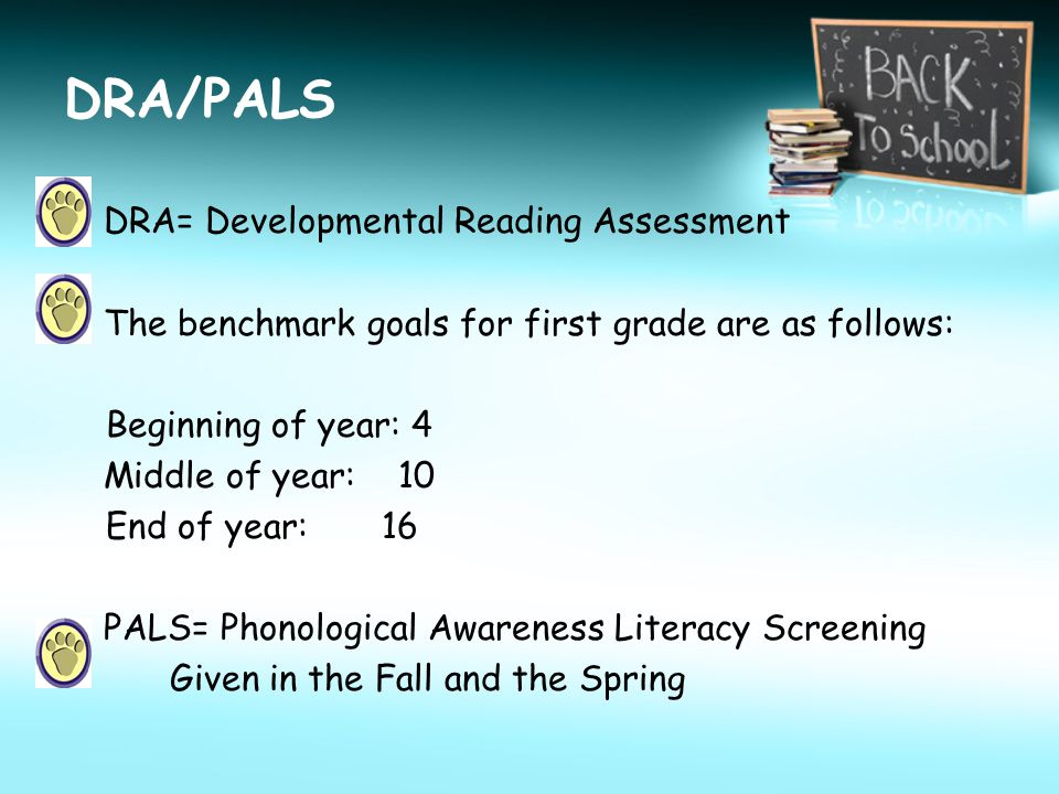 DRA/PALS DRA= Developmental Reading Assessment