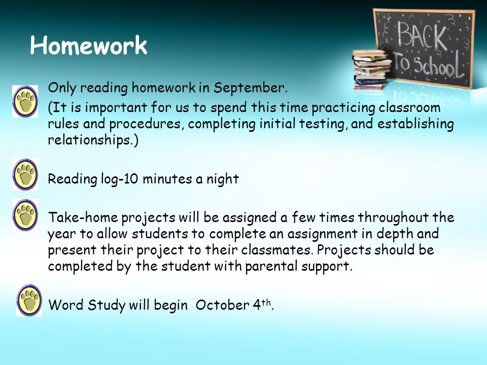 Homework Only reading homework in September.