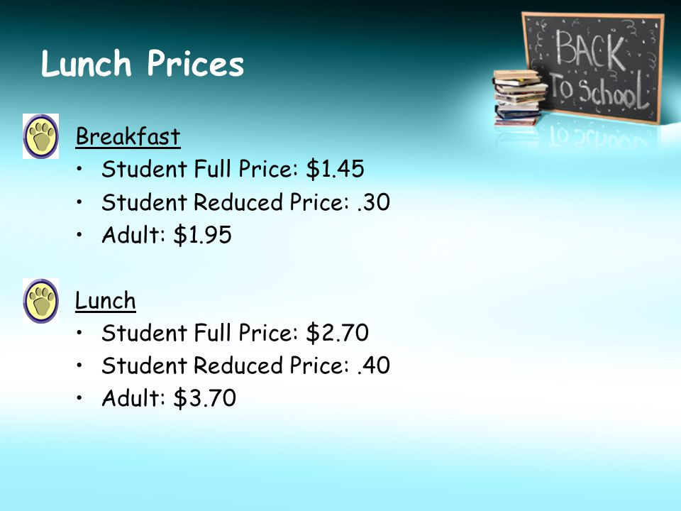 Lunch Prices Breakfast Student Full Price: $1.45