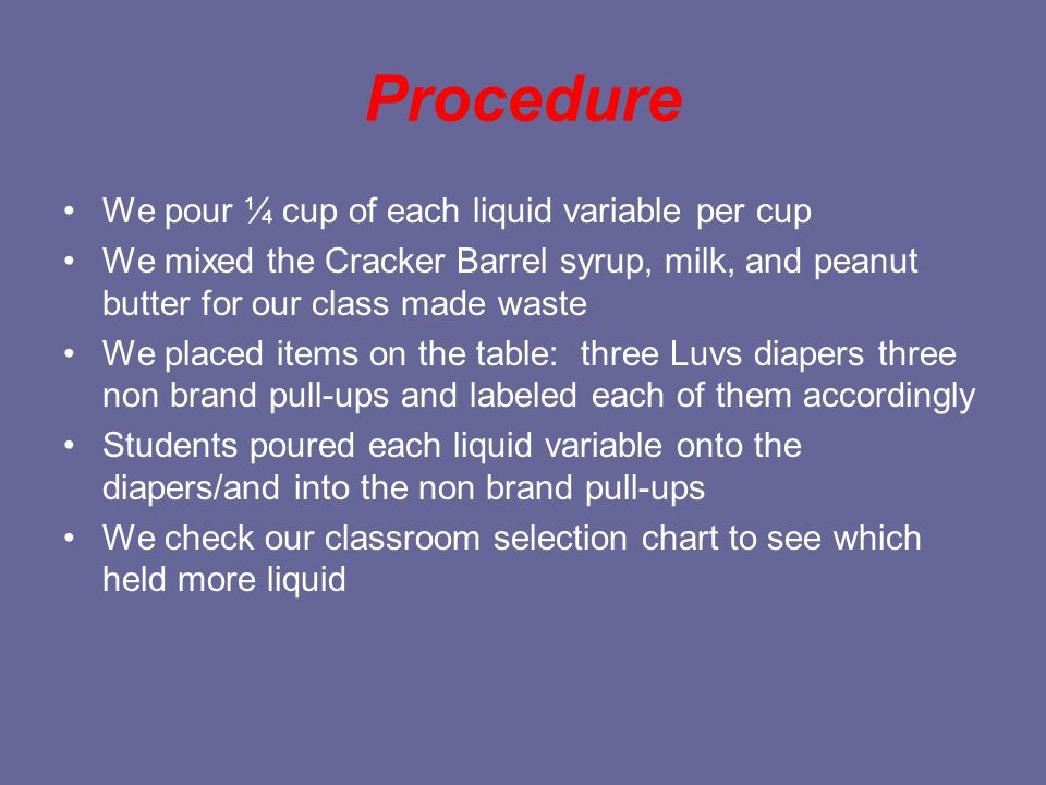 Procedure We pour ¼ cup of each liquid variable per cup