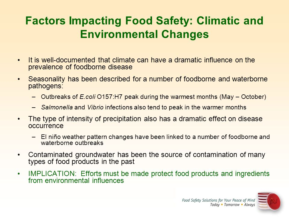 Factors Impacting Food Safety: Climatic and Environmental Changes