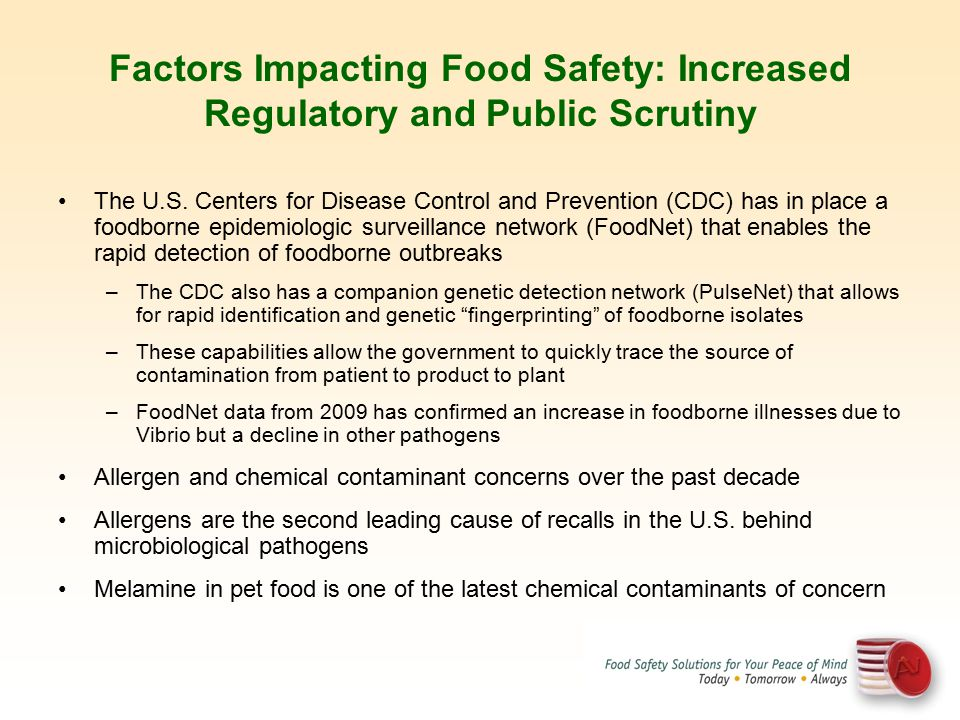 Factors Impacting Food Safety: Increased Regulatory and Public Scrutiny