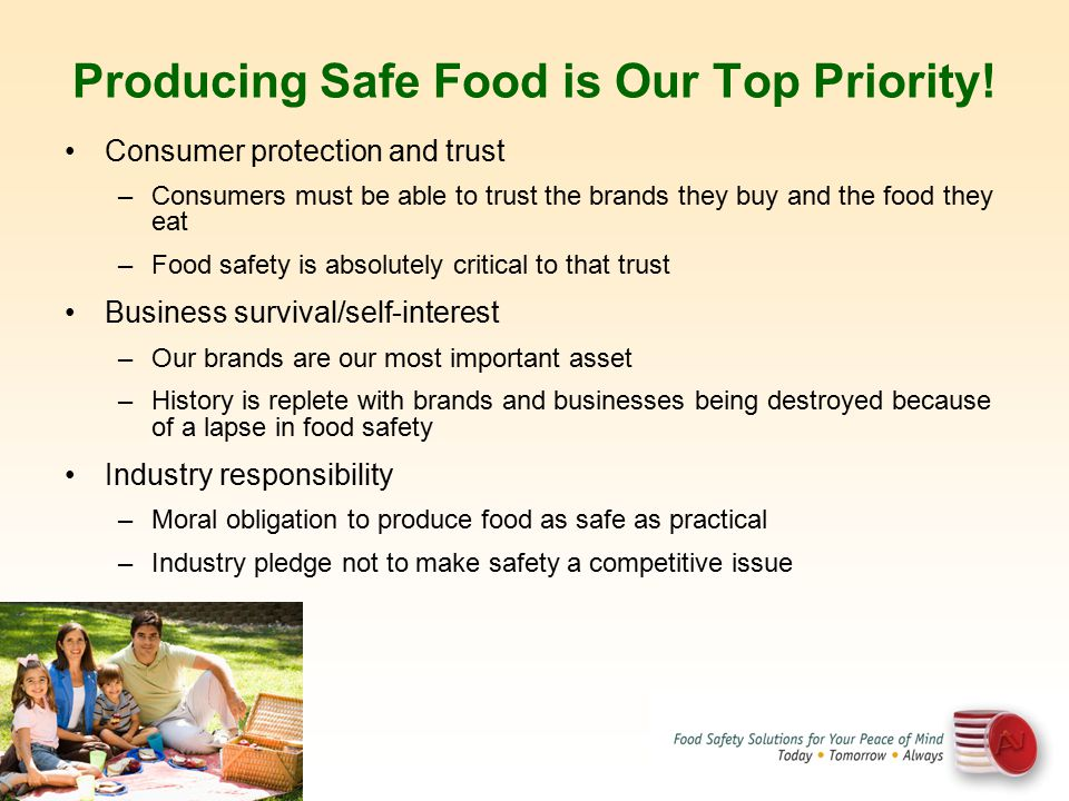 Producing Safe Food is Our Top Priority!