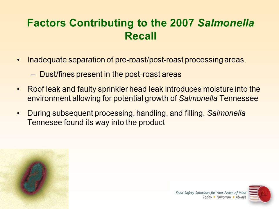 Factors Contributing to the 2007 Salmonella Recall