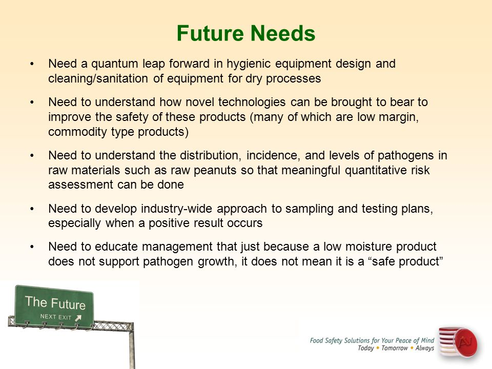 Future Needs Need a quantum leap forward in hygienic equipment design and cleaning/sanitation of equipment for dry processes.