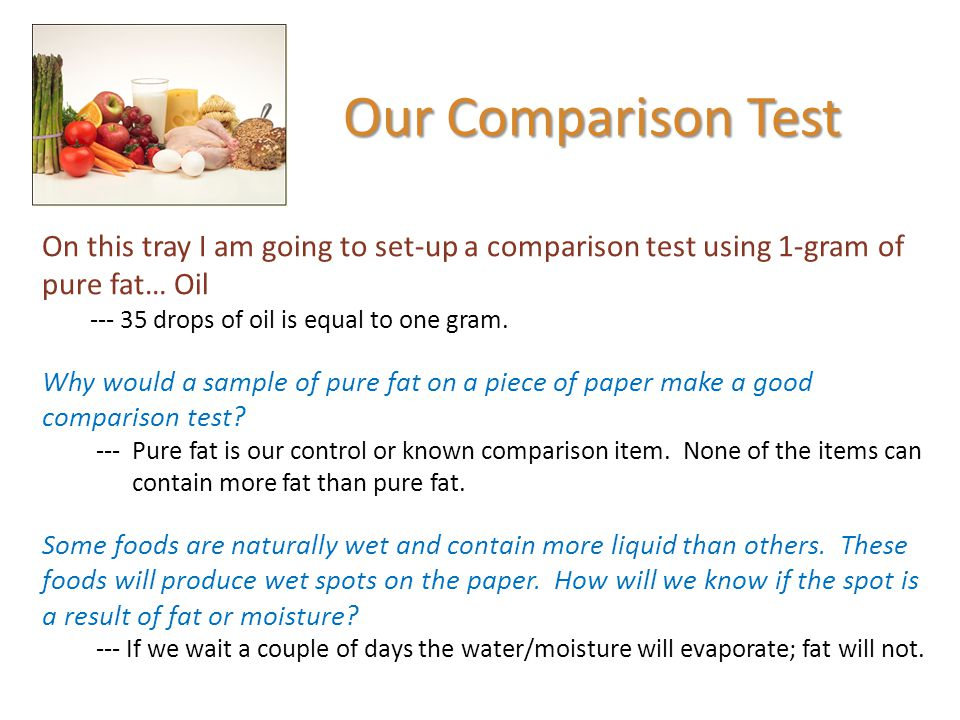 Our Comparison Test On this tray I am going to set-up a comparison test using 1-gram of pure fat… Oil.