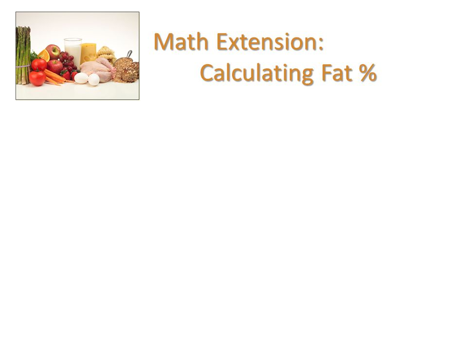 Math Extension: Calculating Fat %