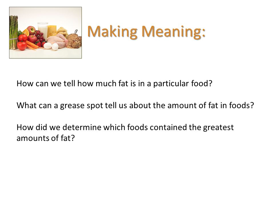 Making Meaning: How can we tell how much fat is in a particular food