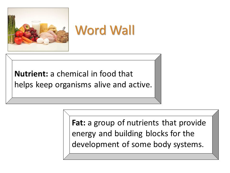 Word Wall Nutrient: a chemical in food that helps keep organisms alive and active.