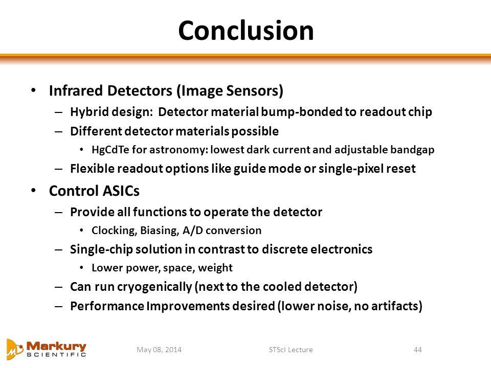 Conclusion Infrared Detectors (Image Sensors) Control ASICs