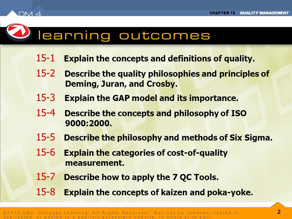 15-1 Explain the concepts and definitions of quality.