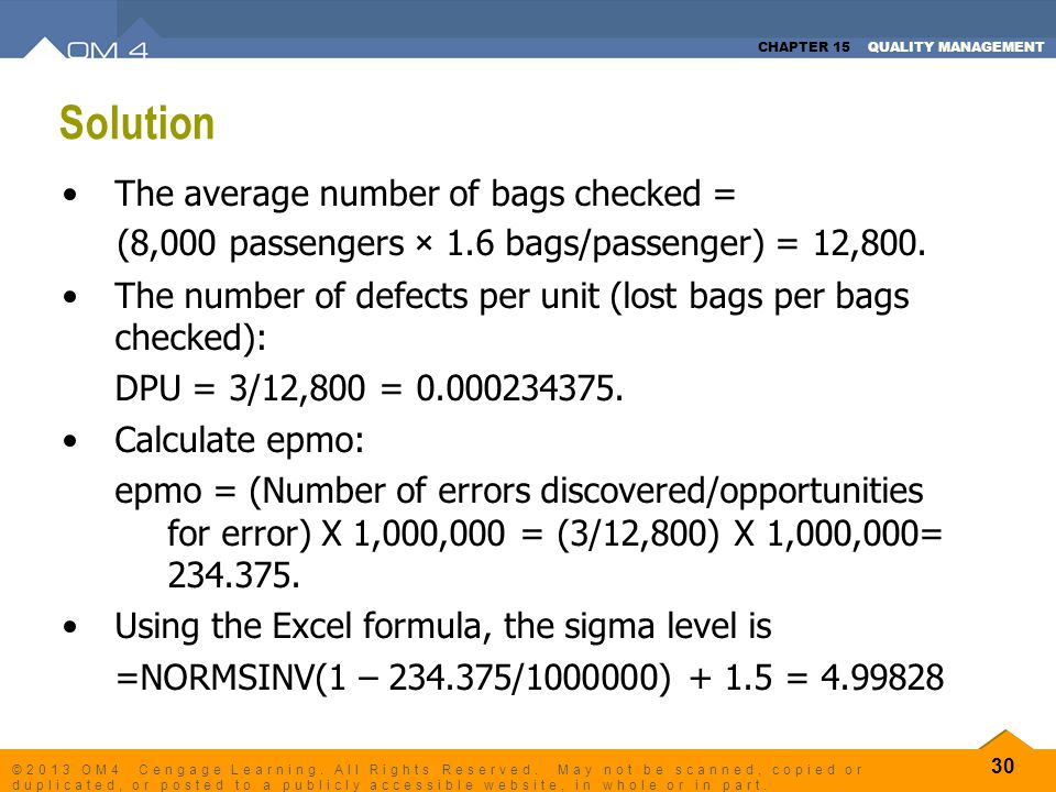 Solution The average number of bags checked =