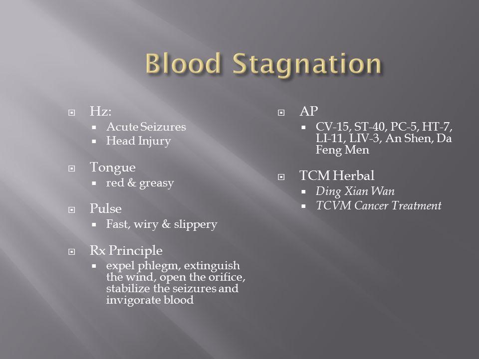 Blood Stagnation Hz: Tongue Pulse Rx Principle AP TCM Herbal