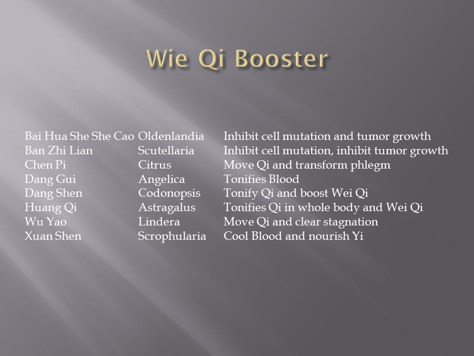 Wie Qi Booster Bai Hua She She Cao Oldenlandia Inhibit cell mutation and tumor growth.