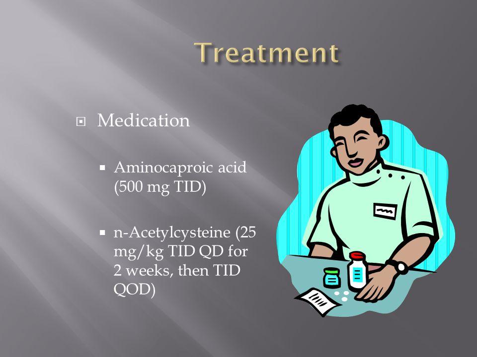 Treatment Medication Aminocaproic acid (500 mg TID)
