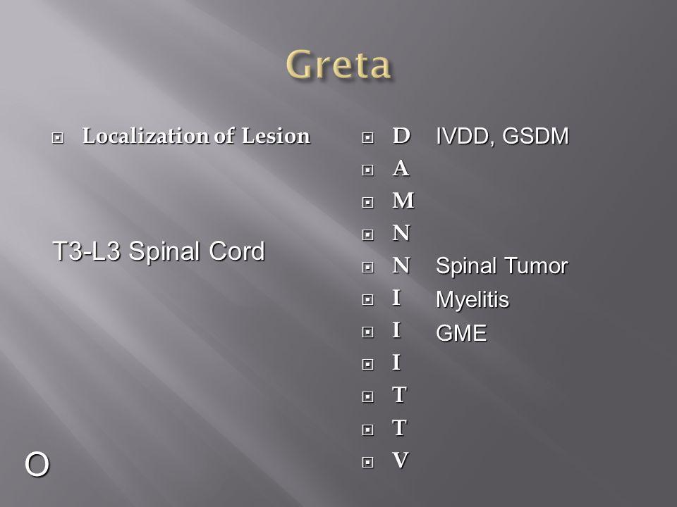 Greta O T3-L3 Spinal Cord Localization of Lesion D A M N I T V