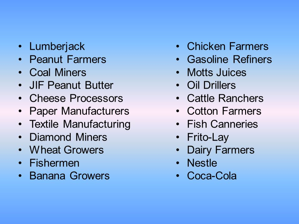 Lumberjack Peanut Farmers. Coal Miners. JIF Peanut Butter. Cheese Processors. Paper Manufacturers.
