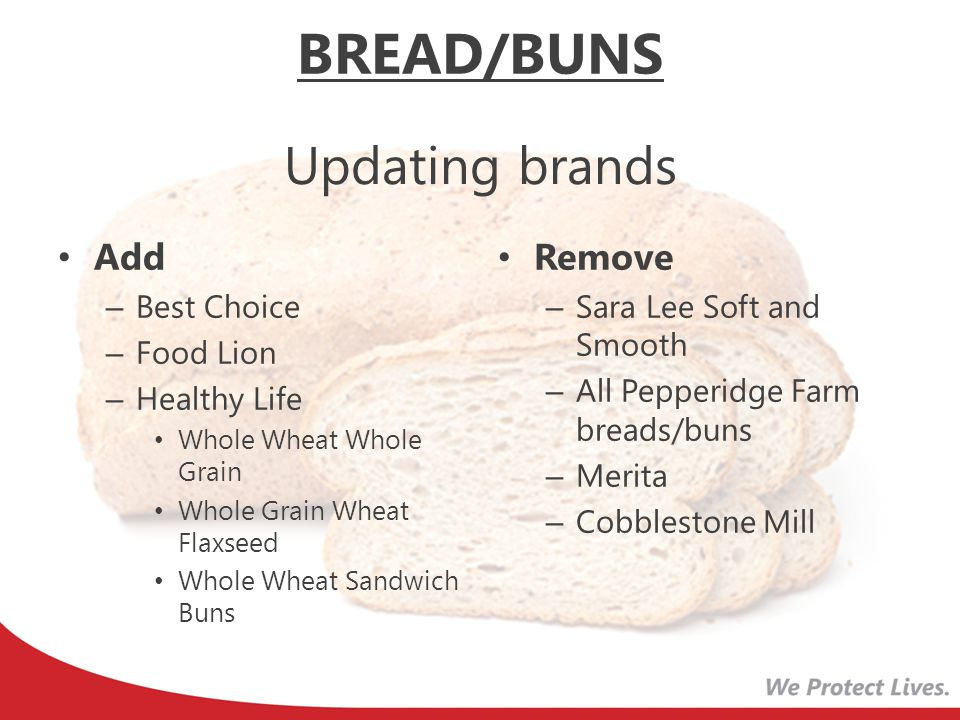 BREAD/BUNS Updating brands Add Remove Best Choice Food Lion