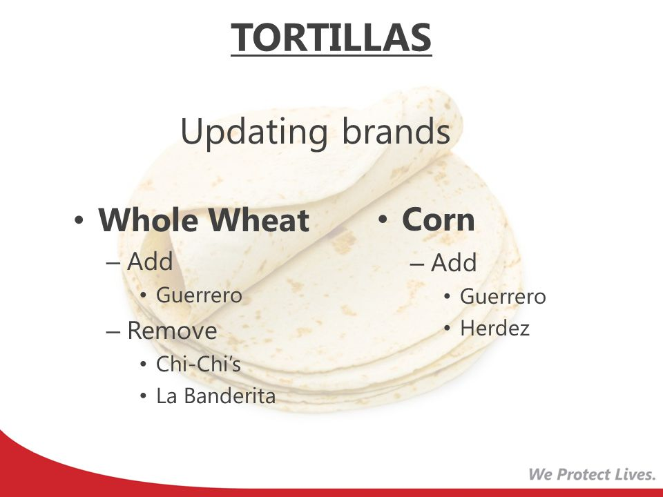 TORTILLAS Updating brands Corn Whole Wheat Add Add Remove Guerrero