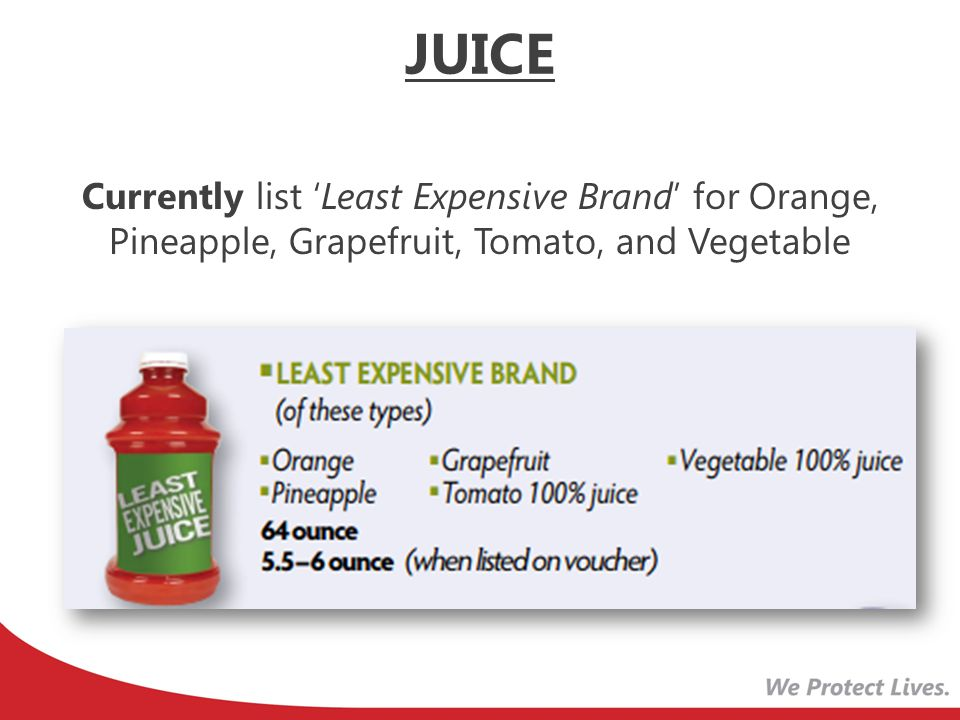 JUICE Currently list 'Least Expensive Brand' for Orange, Pineapple, Grapefruit, Tomato, and Vegetable.