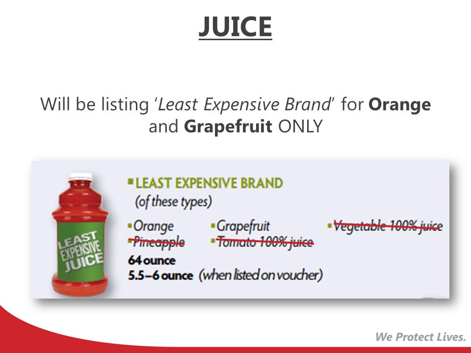 Will be listing 'Least Expensive Brand' for Orange and Grapefruit ONLY