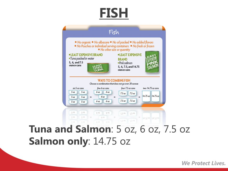 FISH Tuna and Salmon: 5 oz, 6 oz, 7.5 oz Salmon only: 14.75 oz