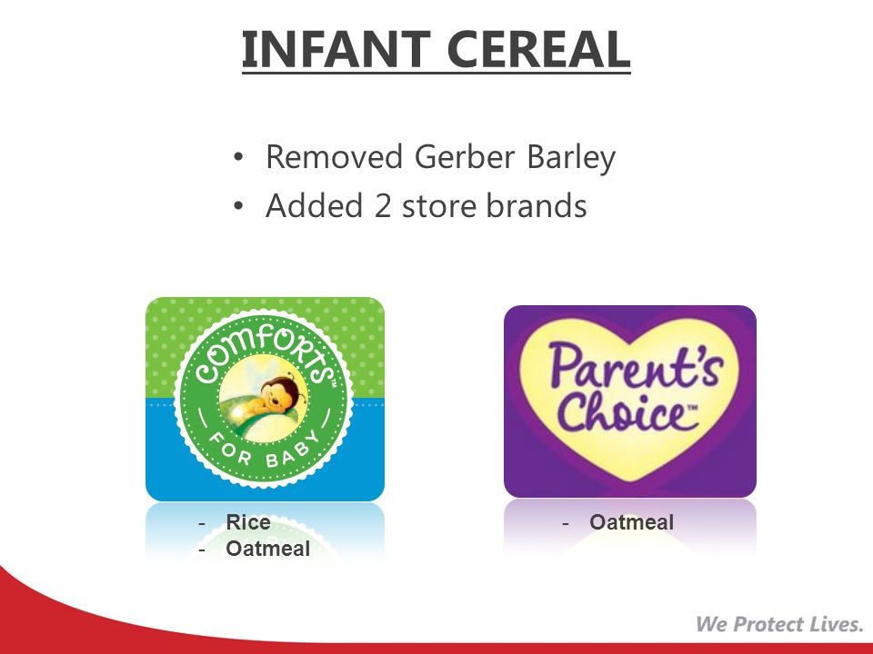 INFANT CEREAL Removed Gerber Barley Added 2 store brands Rice Oatmeal