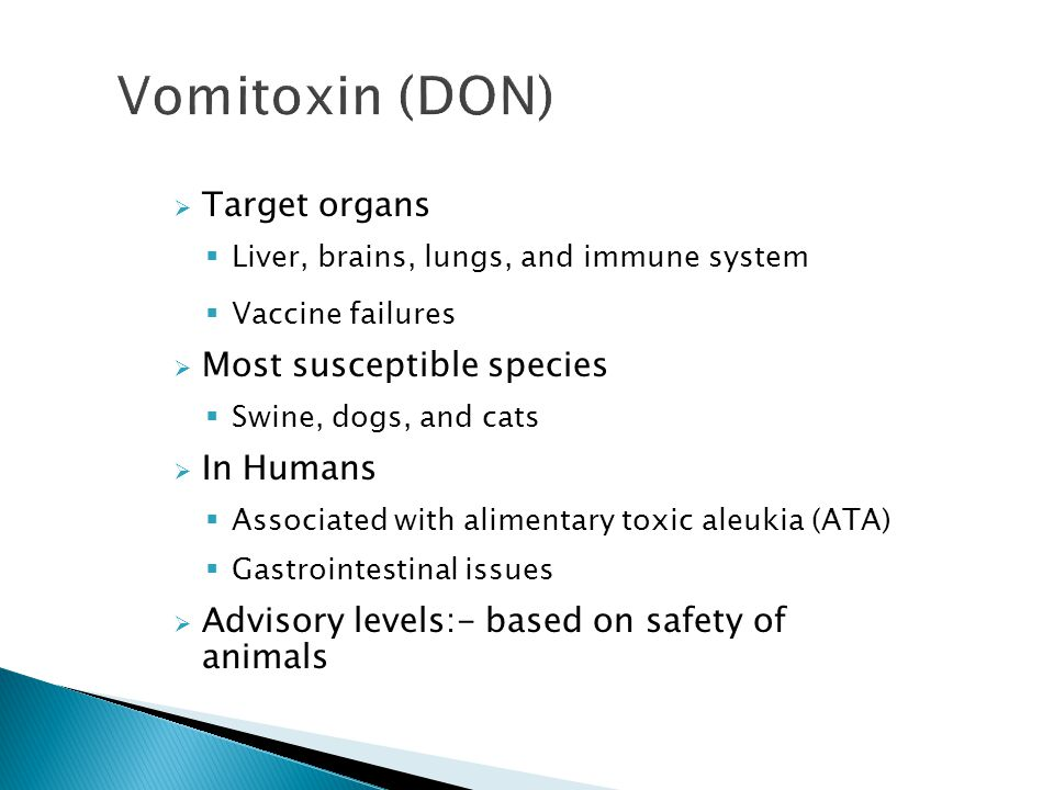 Vomitoxin (DON) Target organs Most susceptible species In Humans